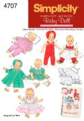4707 Simplicity Pattern: Vintage Baby Doll Clothes in Three Sizes